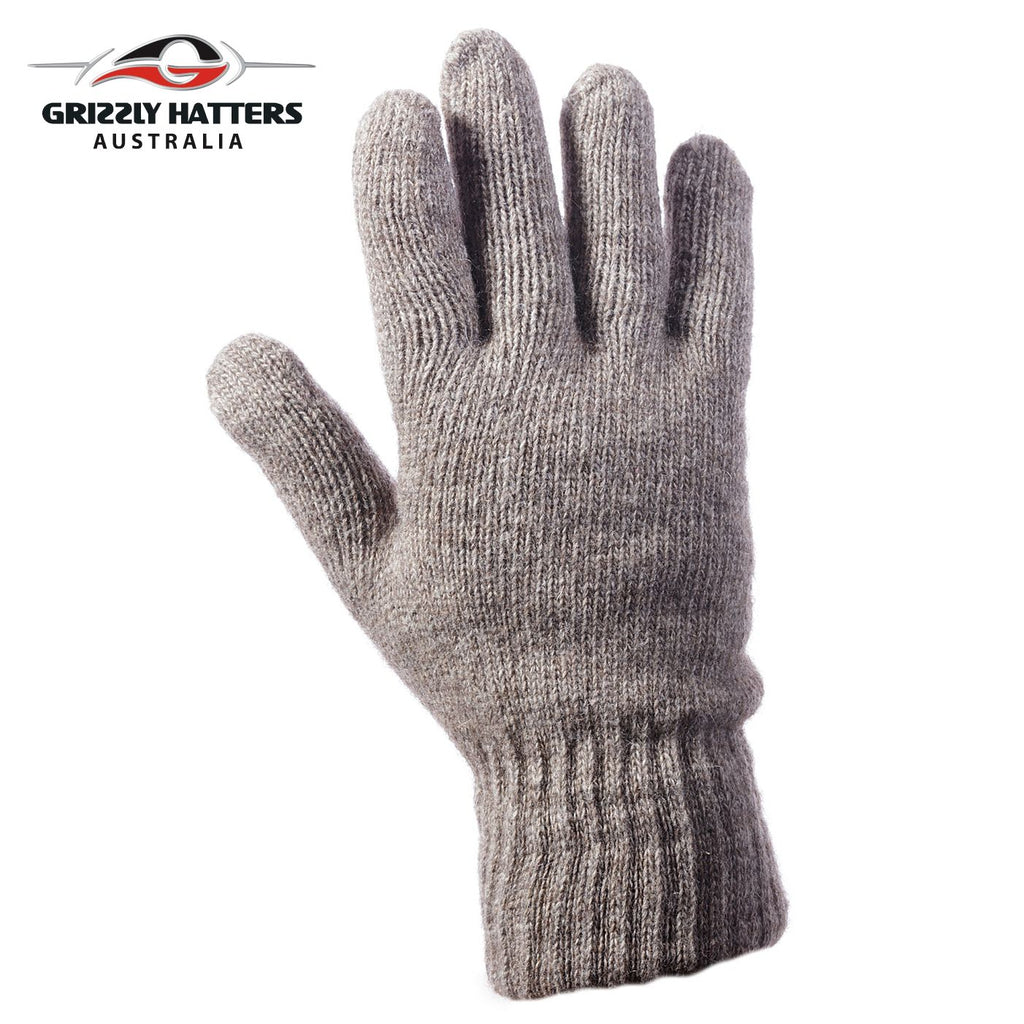 Mens angora wool gloves with extra lining one size fits most tan colour