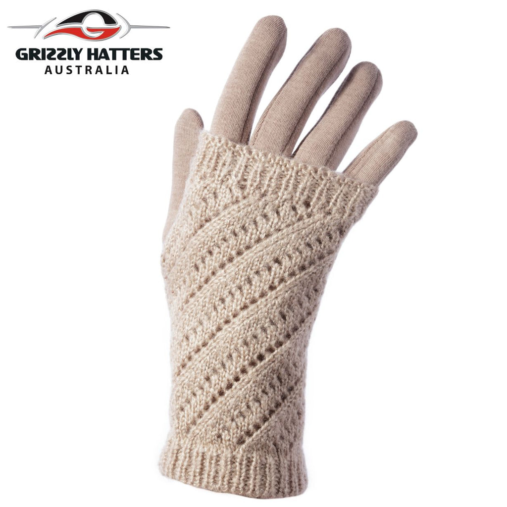 Two-in-one design warm winter gloves in beige colour  with fleece lining; glove with mitten design; designed by Grizzly Hatters Australia Tasmania Salamanca Market