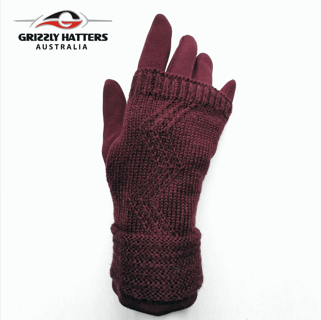 ladies two-in-one new design winter gloves ; mittens with cloves Grizzly Hatters Australia Hobart Salamanca Market