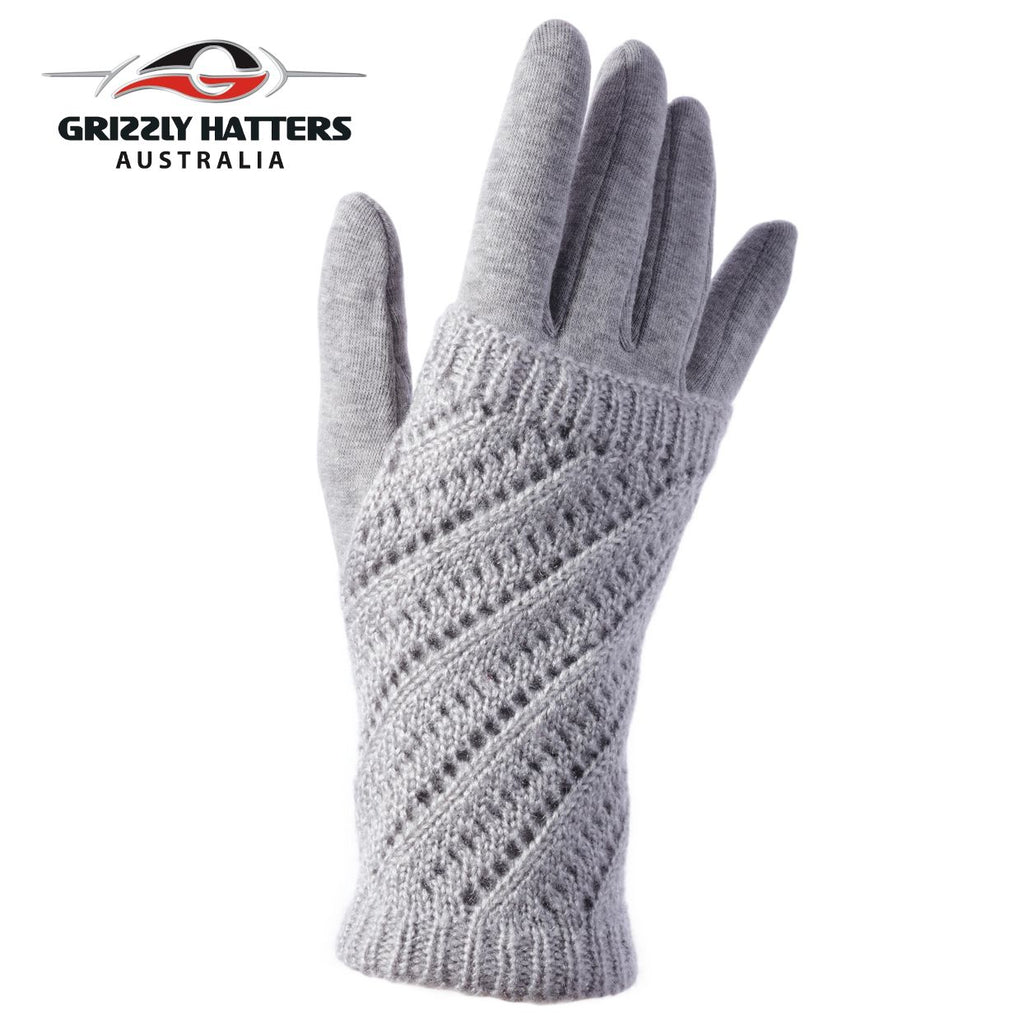 Two-in-one design warm winter gloves in light grey colour  with fleece lining; glove with mitten design; designed by Grizzly Hatters Australia Tasmania Salamanca Market