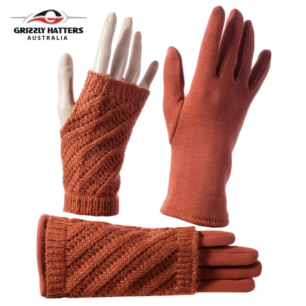 Two-in-one cable design winter gloves