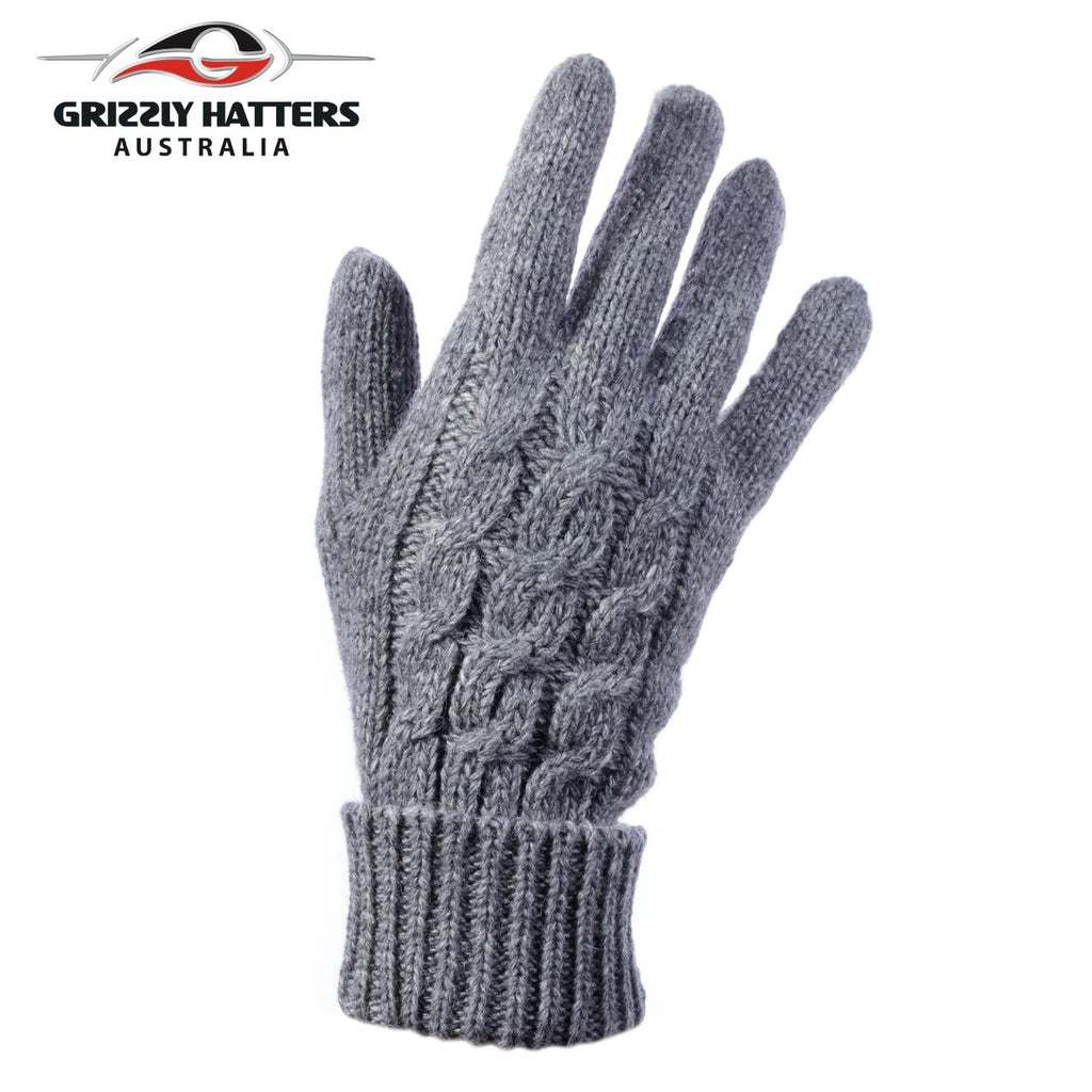 Ladies merino wool gloves cable knit design dark grey colour designed Grizzly Hatters