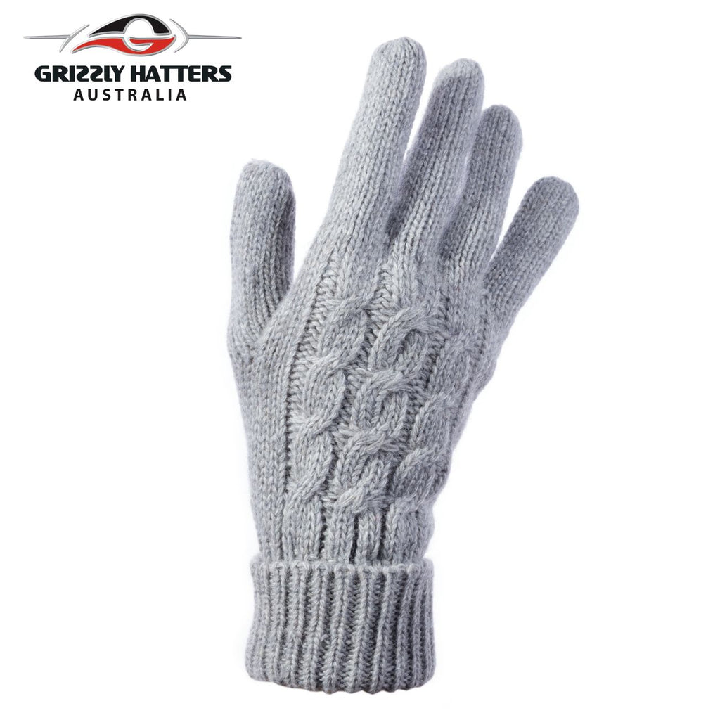 Ladies merino wool gloves cable knit design light grey colour designed Grizzly Hatters