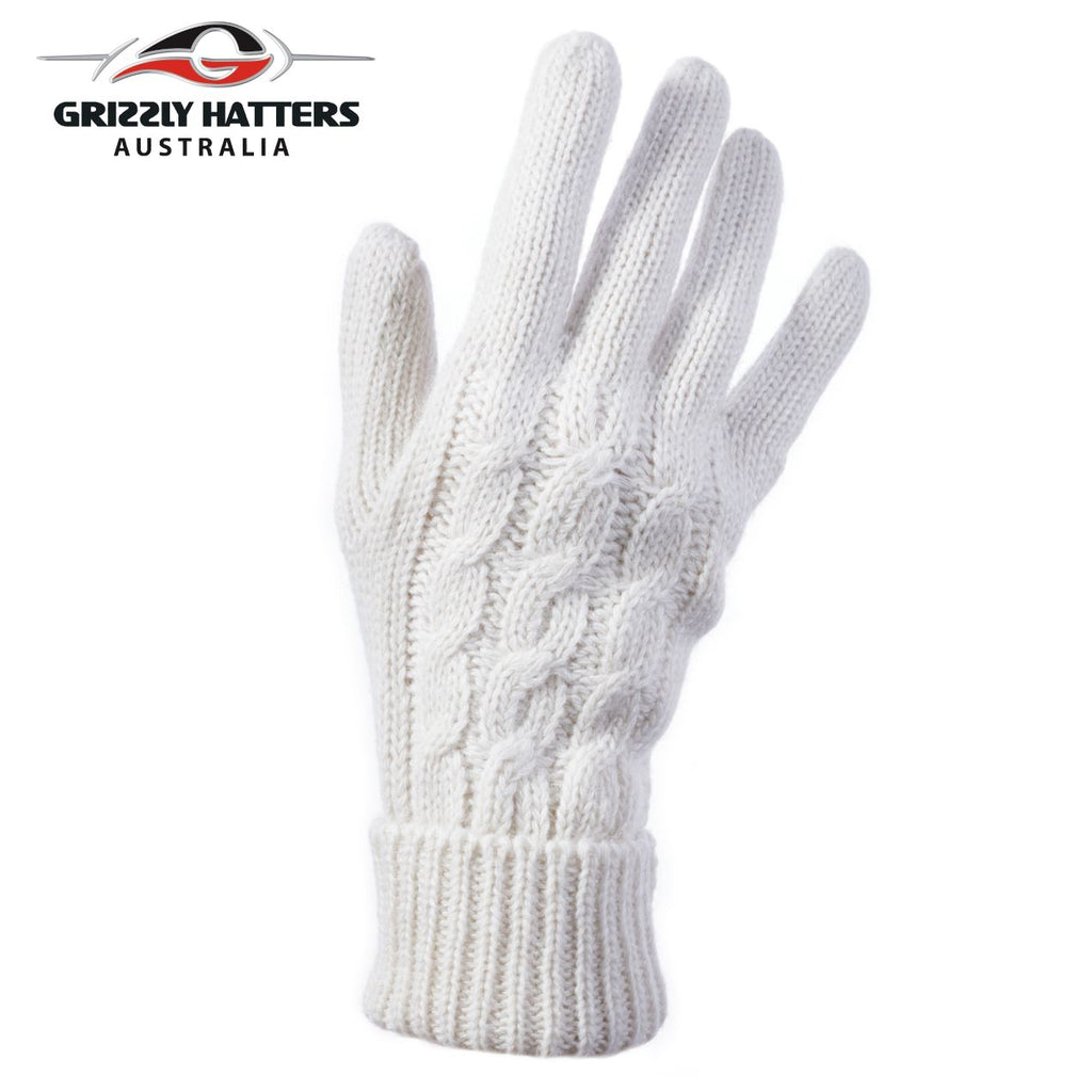 Ladies merino wool gloves cable knit design white colour designed Grizzly Hatters