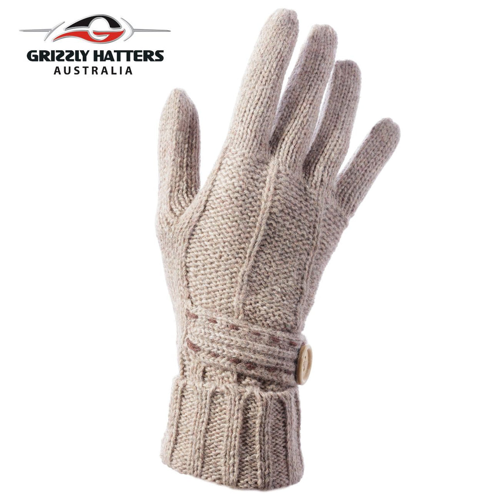 Merino wool gloves button design beige colour by Grizzly Hatters