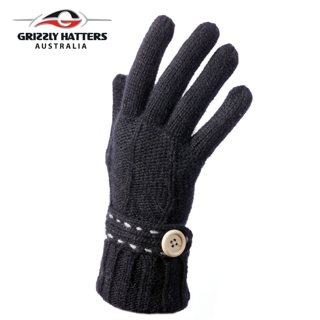 Merino wool gloves button design black colour by Grizzly Hatters
