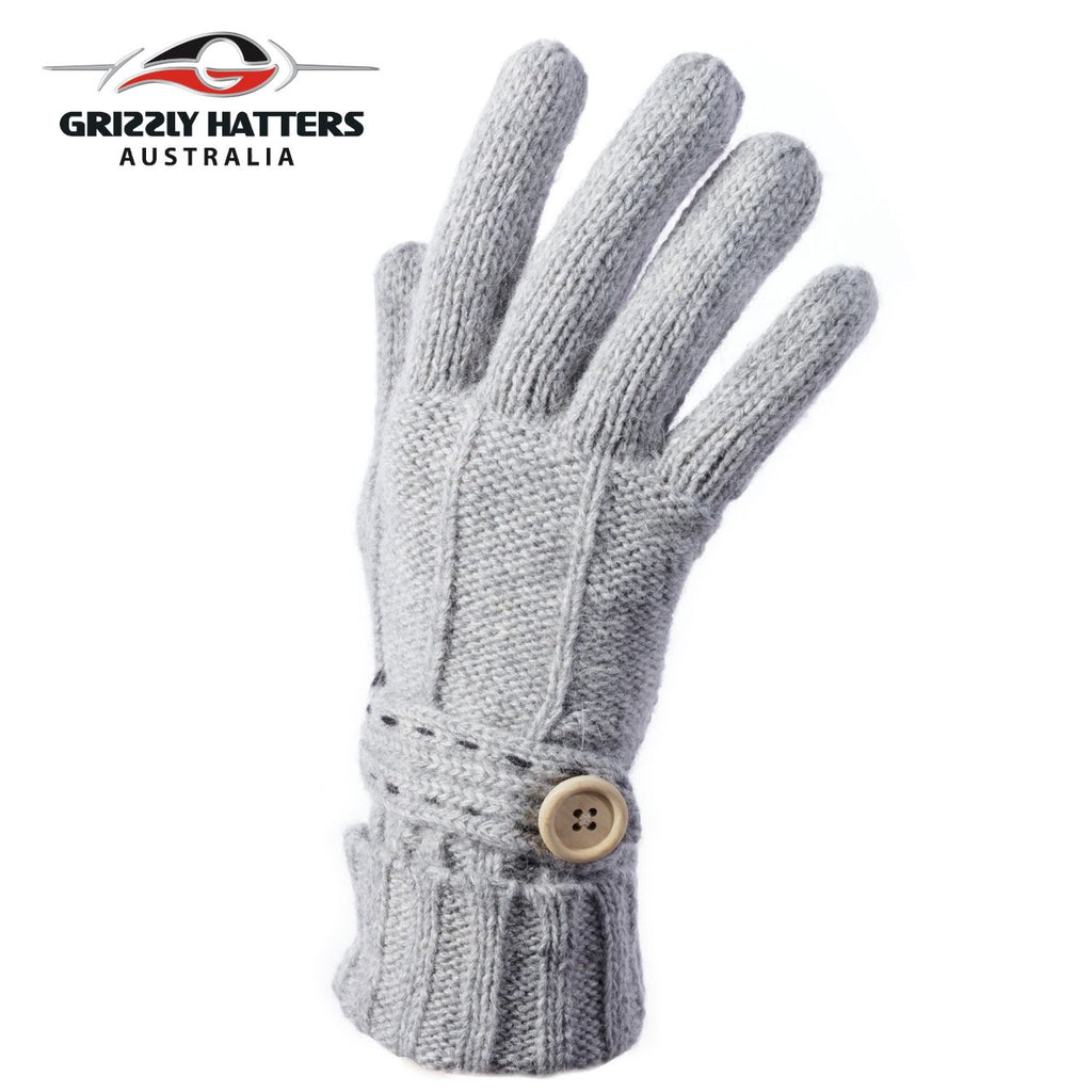 Merino wool gloves button design light grey colour by Grizzly Hatters