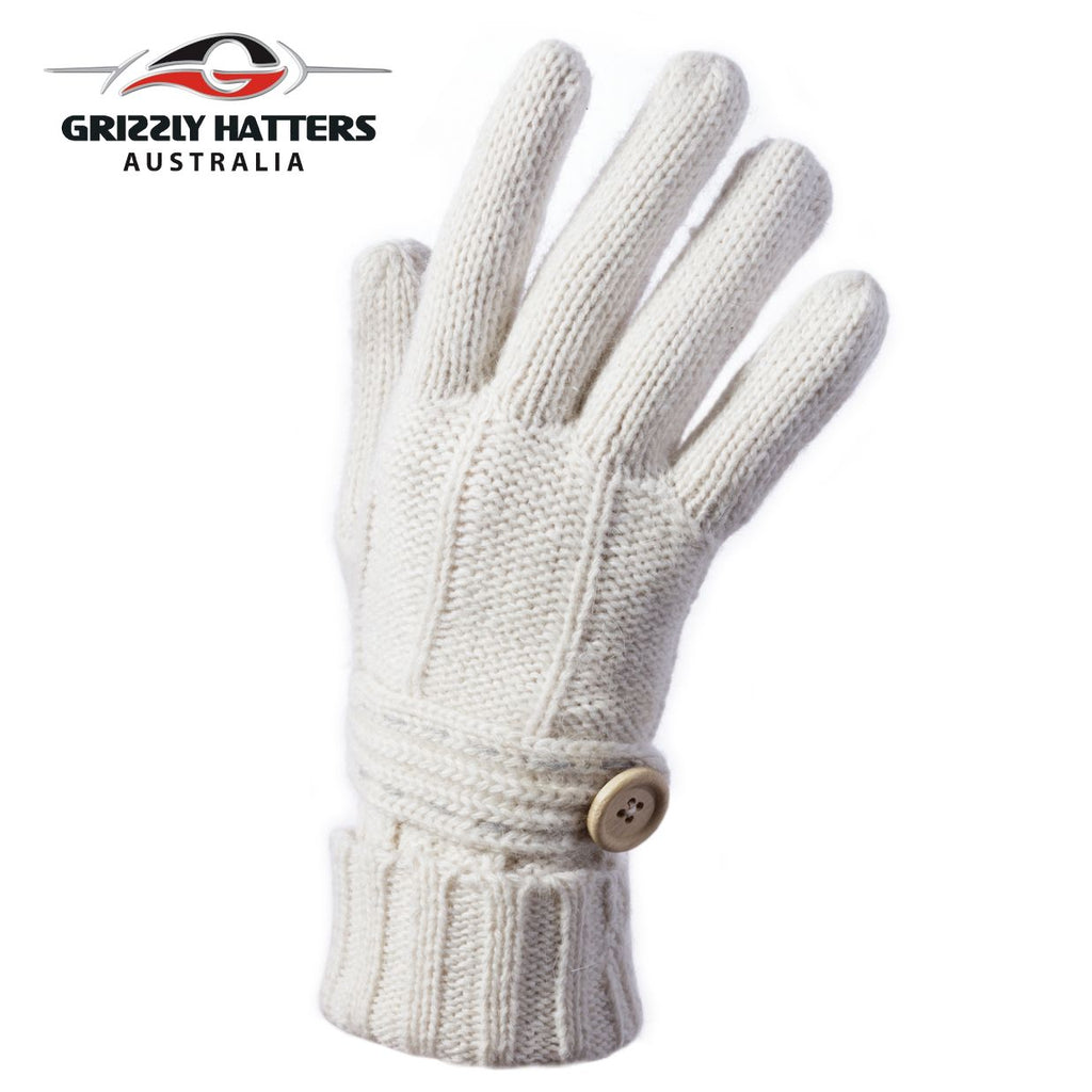Merino wool gloves button design white colour by Grizzly Hatters