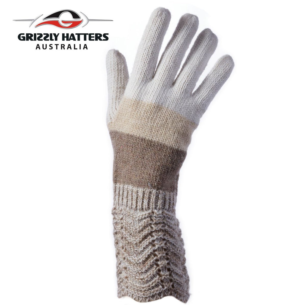 ladies wool gloves beige colour stripes by Grizzly Hatters Australia