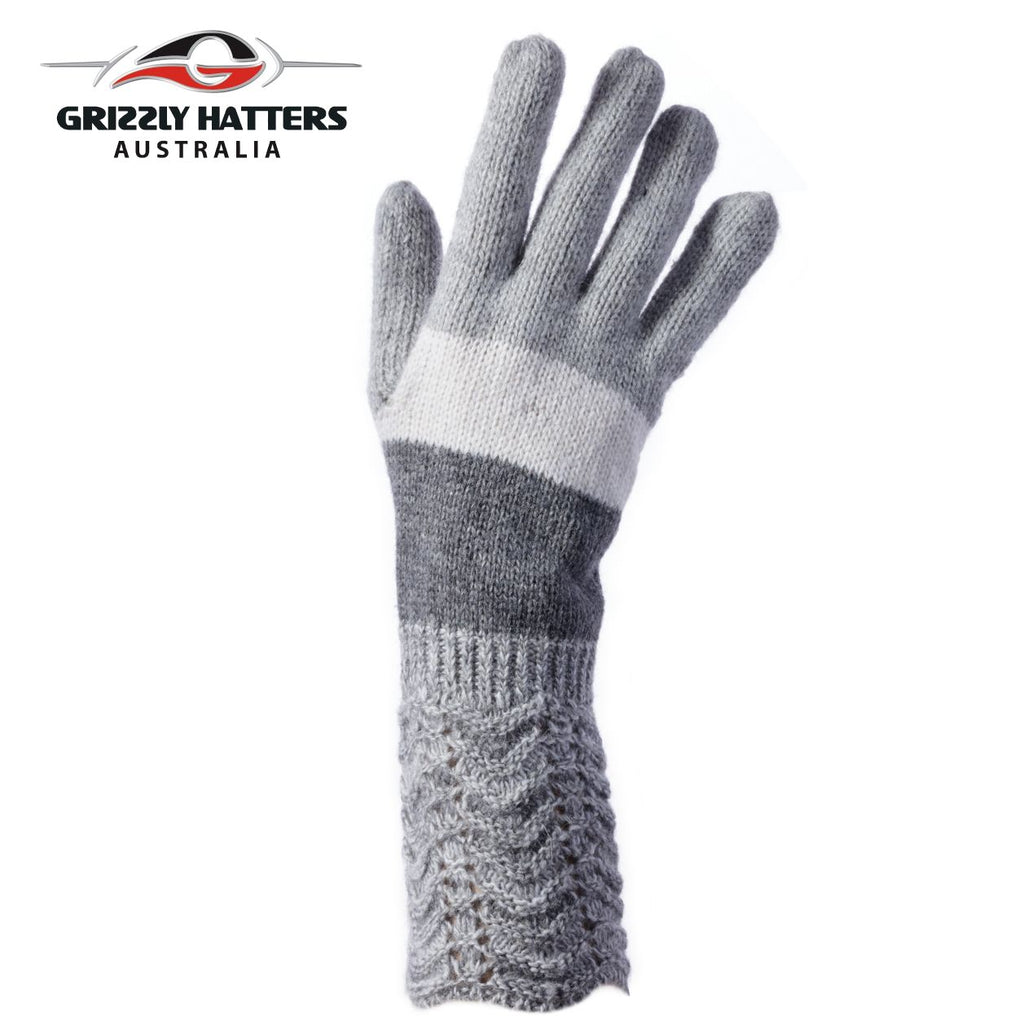 ladies wool gloves light grey colour stripes by Grizzly Hatters Australia