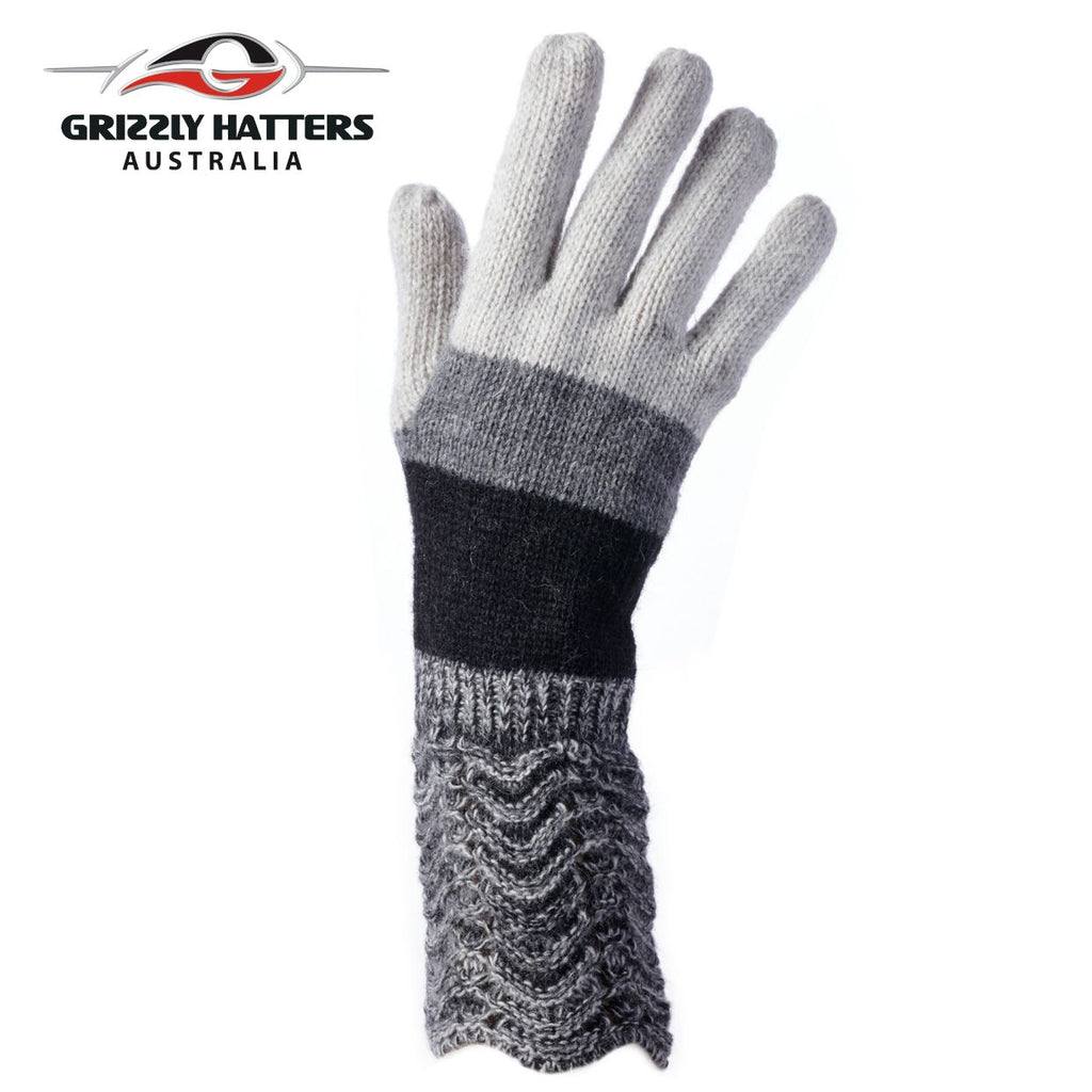 ladies wool gloves dark grey colour stripes by Grizzly Hatters Australia