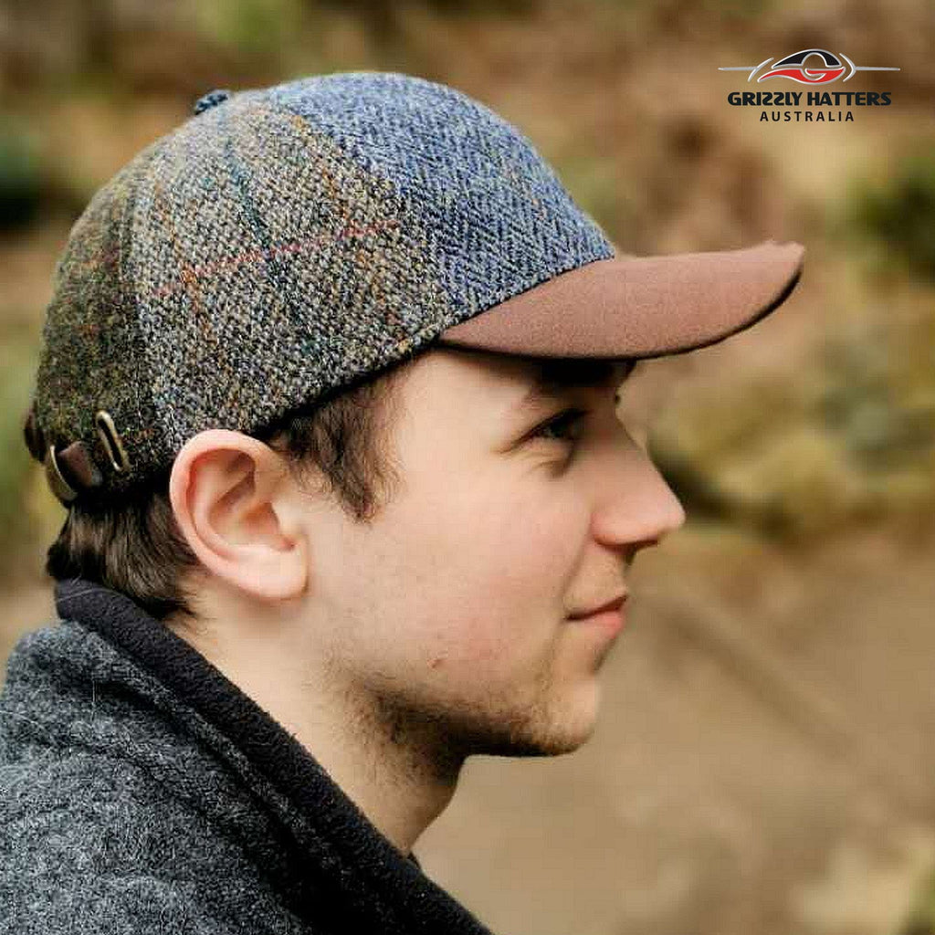 Traditional Harris Tweed Wool Flat Cap in Patchwork hand made in Tasmania Australia by Grizzly Hatters Salamanca Market