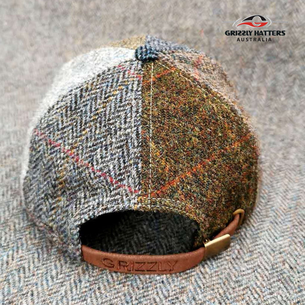 Harris Tweed Wool Flat Cap in Patchwork