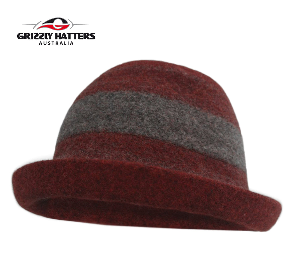 Ladies 100% Australian Wool Hat Cloche Curled Brim Burgundy/Dark Grey Colour Adjustable size Foldable
