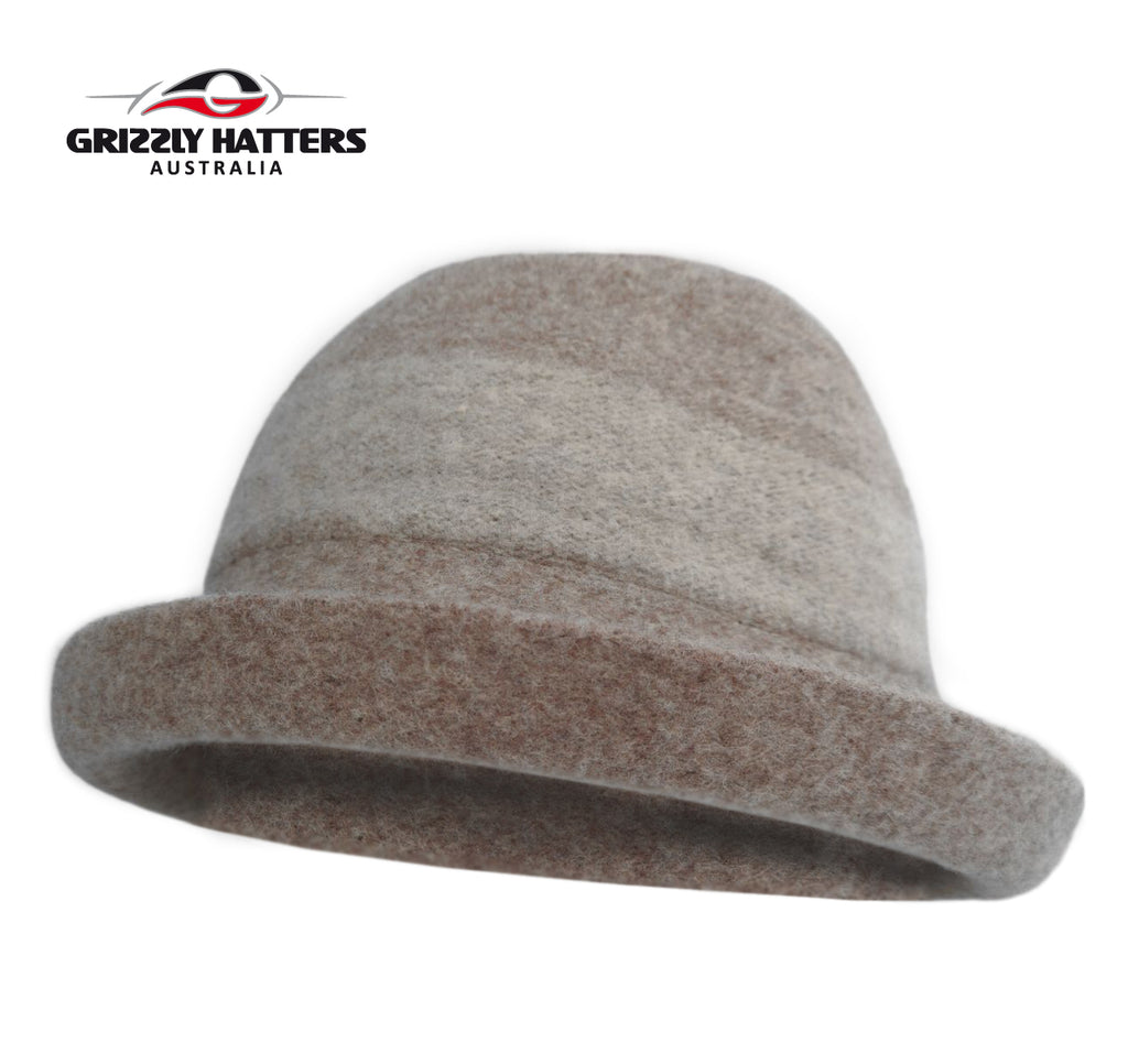 Ladies 100% Australian Wool Hat Cloche Curled Brim Oatmeal / Cream Colour Adjustable size Foldable