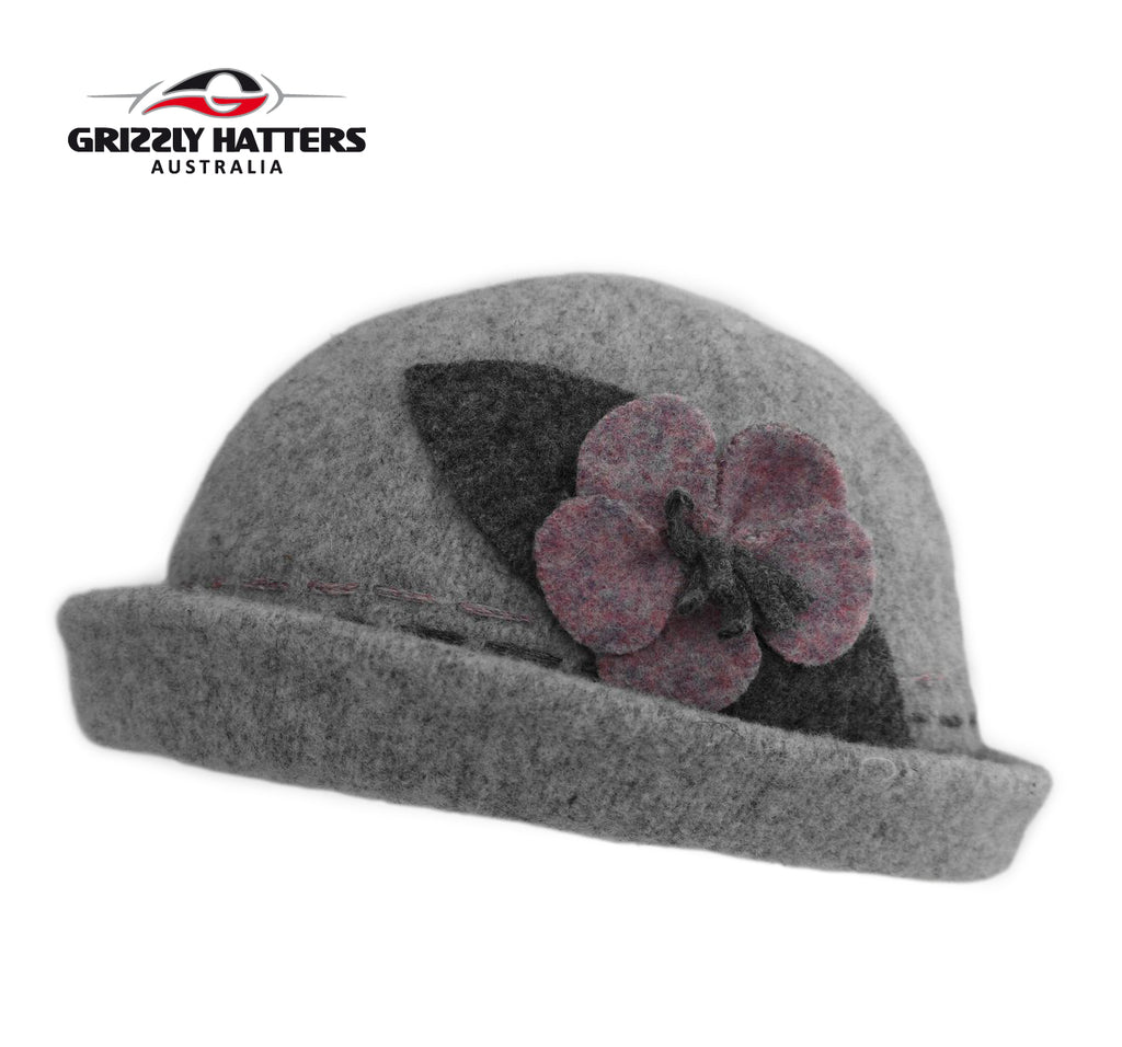Fashionable Ladies Foldable Wool Hat with curled up brim grey colour with purple flower