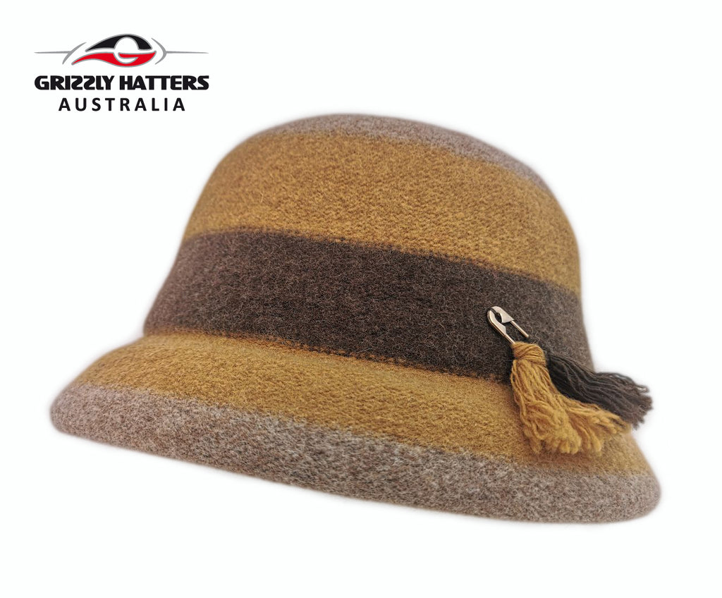 Mustard Colour 100% Wool Ladies hat Elegant Classic Fashion Adjustable size Foldable designed in Australia