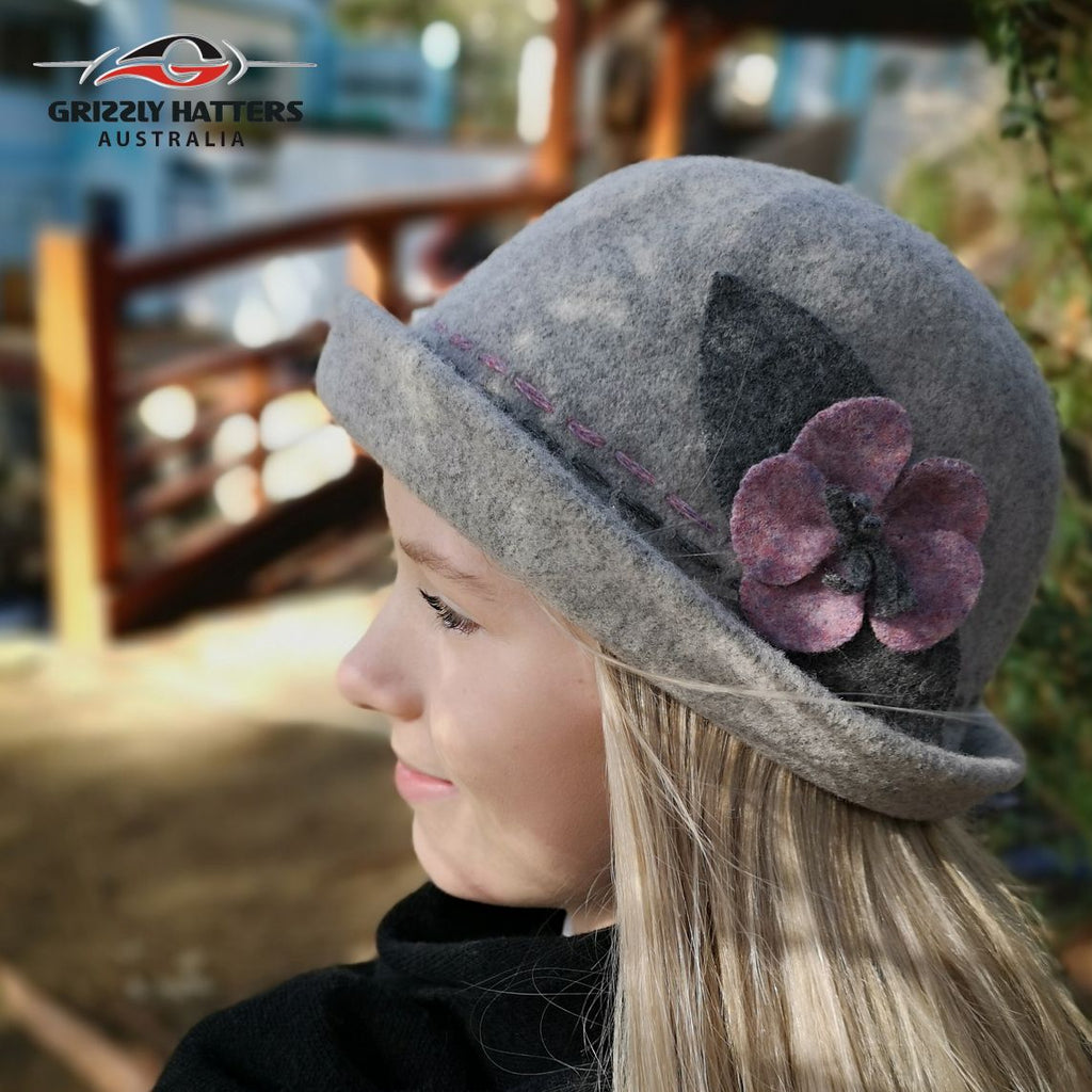 Fashionable Ladies Foldable Wool Hat with curled up brim grey colour