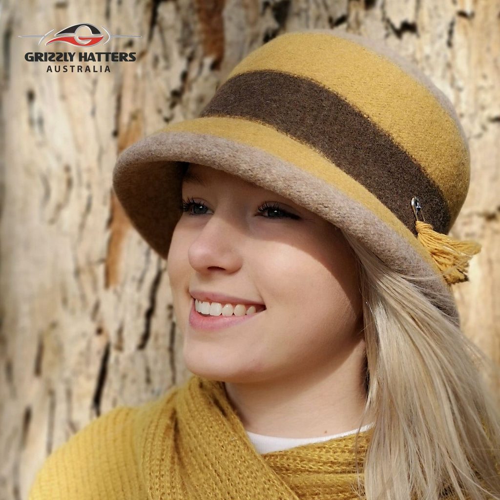 Mustard Colour 100% Wool Ladies hat Elegant Classic Fashion Adjustable size Foldable