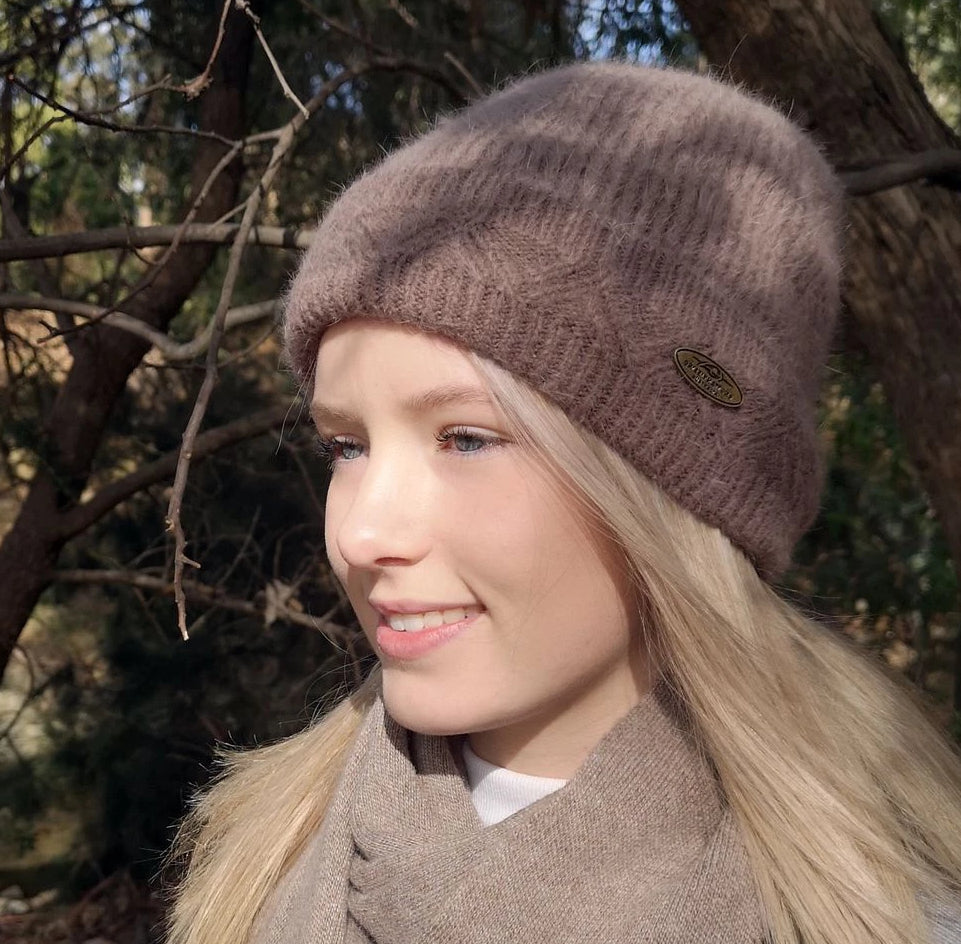 Merino & Angora Wool blend Beanie with fleece lining mocha brown colour