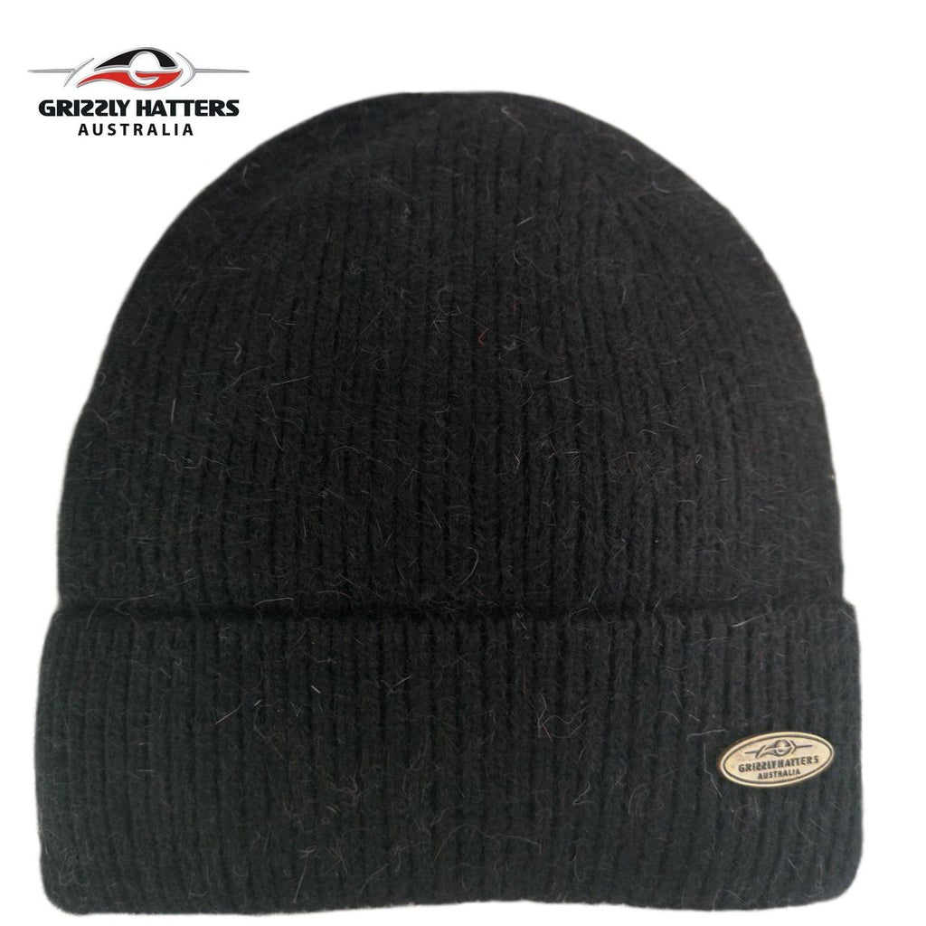 Merino and Angora wool blend beanie with fleece lining black