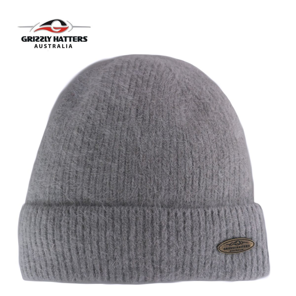 Merino and Angora wool blend beanie with fleece lining grey