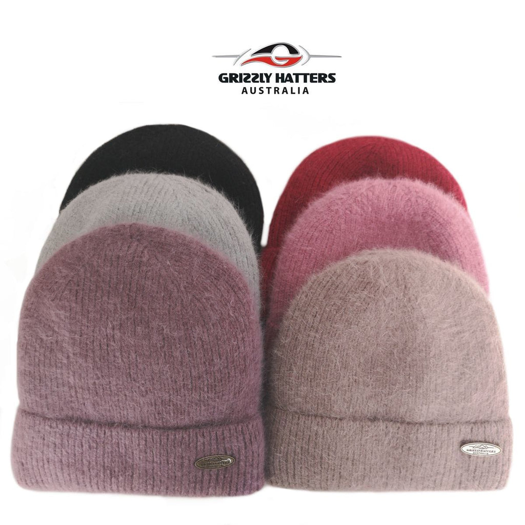 Merino and Angora wool blend beanie with fleece lining black pink purple red brown grey