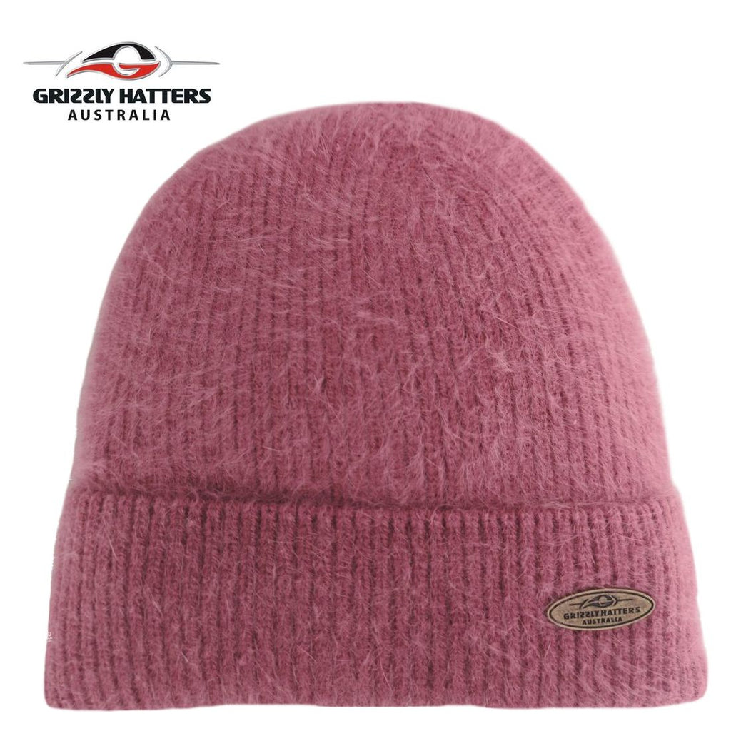 Merino and Angora wool blend beanie with fleece lining pink