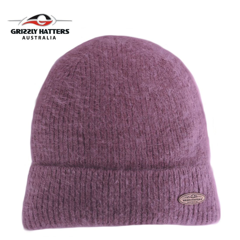 Merino and Angora wool blend beanie with fleece lining purple