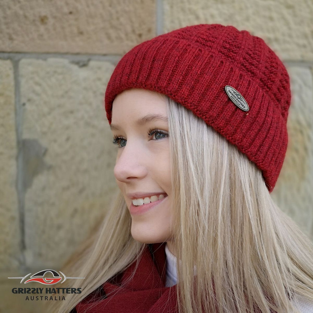 Australian Merino Wool blend Beanie with fleece lining