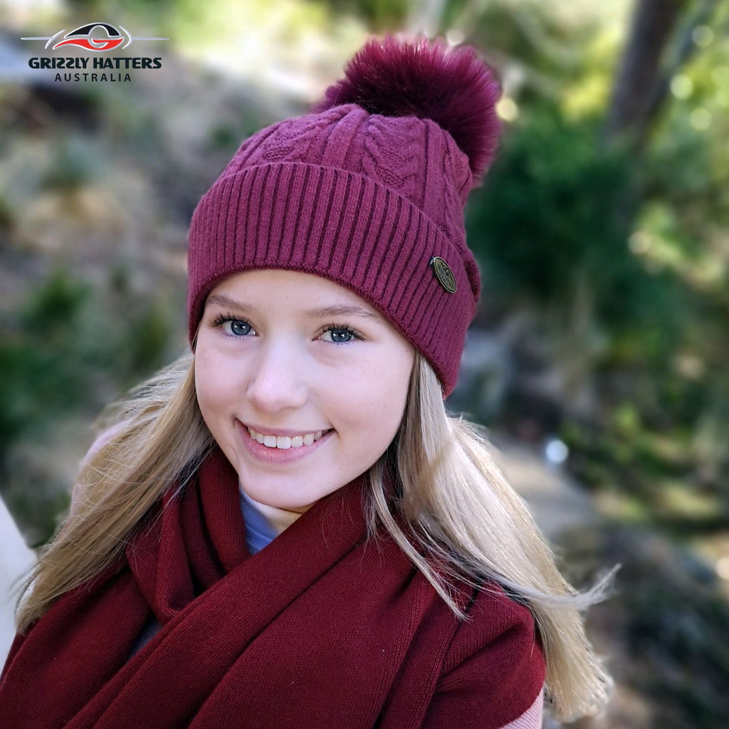 Merino wool blend Pom Pom Beanie with fluffy lining maroon red burgundy colour
