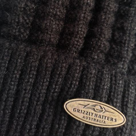 Australian Merino Wool blend Beanie with fleece lining black colour snug fit