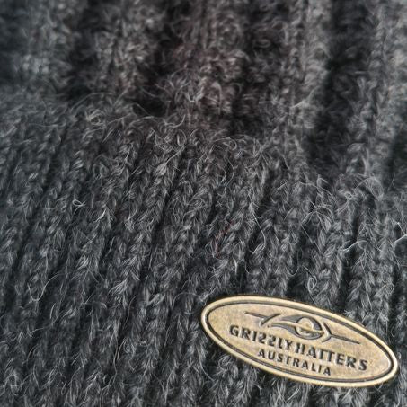Australian Merino Wool blend Beanie with fleece lining charcoal colour snug fit