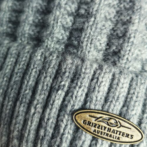 Australian Merino Wool blend Beanie with fleece lining light grey colour snug fit