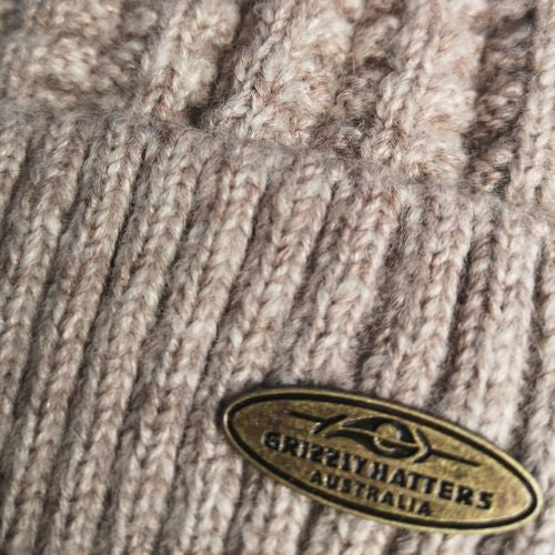 Australian Merino Wool blend Beanie with fleece lining light oatmeal colour snug fit