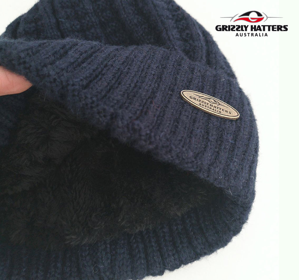 Australian Merino Wool blend Beanie with fleece lining navy colour snug fit