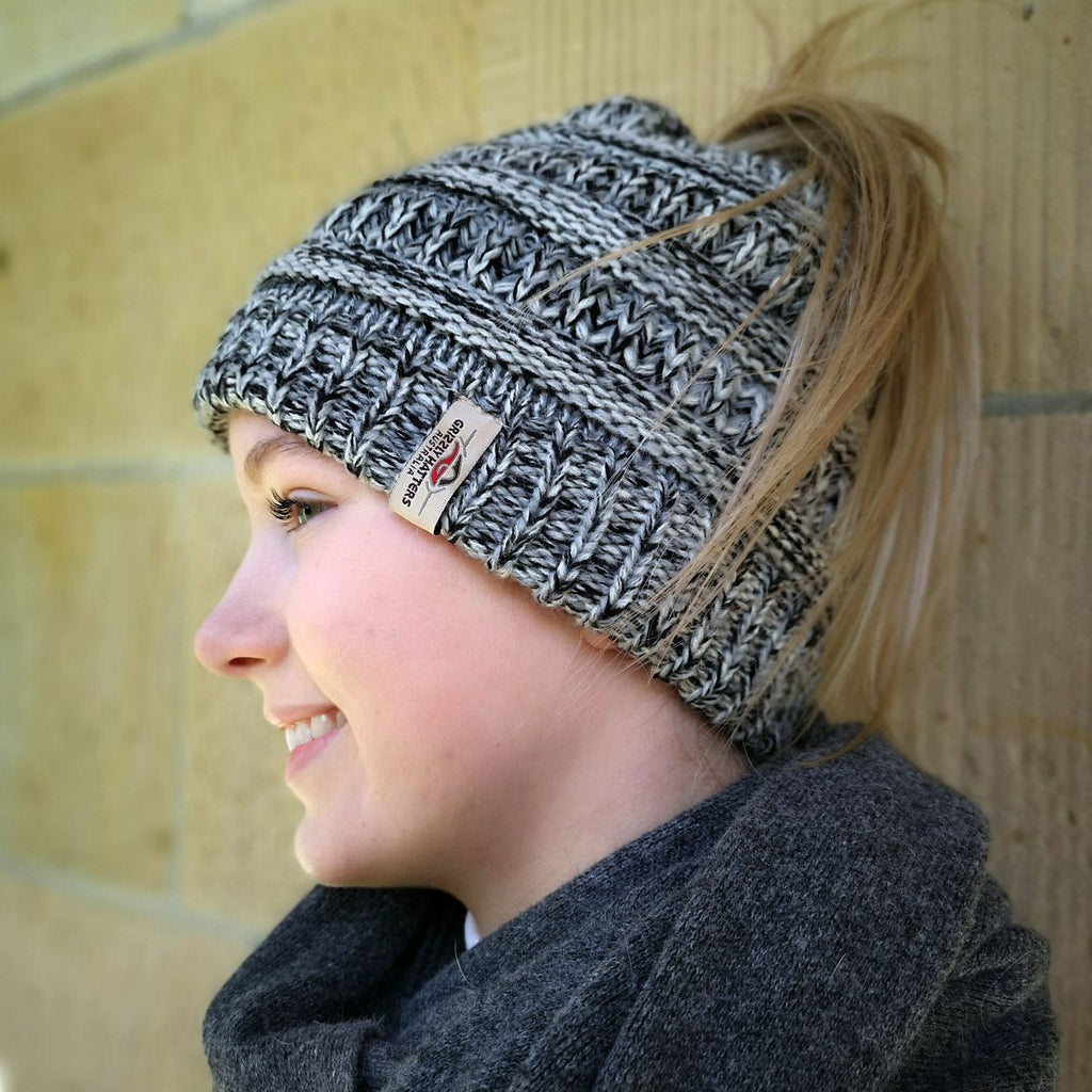 Ponytail Beanie with fleece lining
