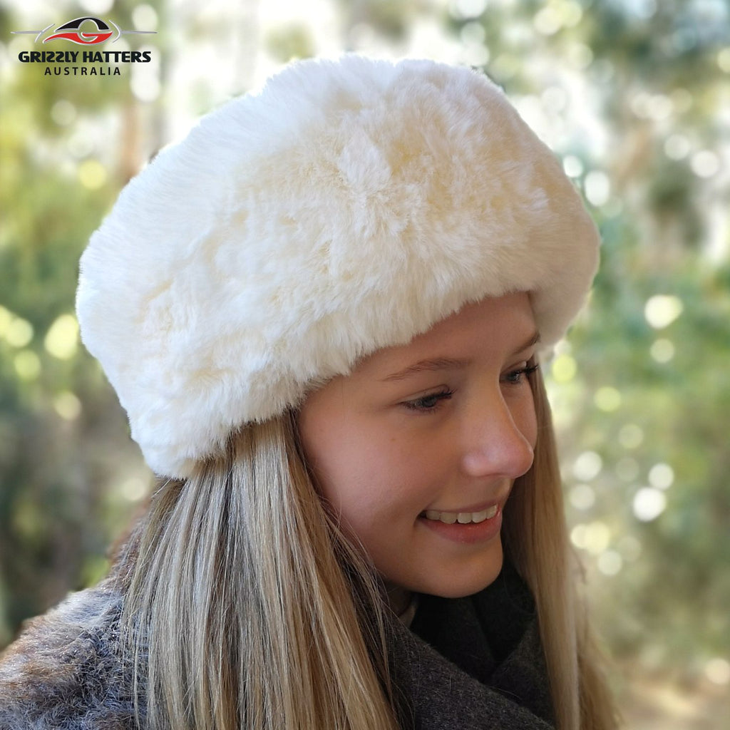 Faux Fur Hat Soft Rabbit Imitation Cream Colour
