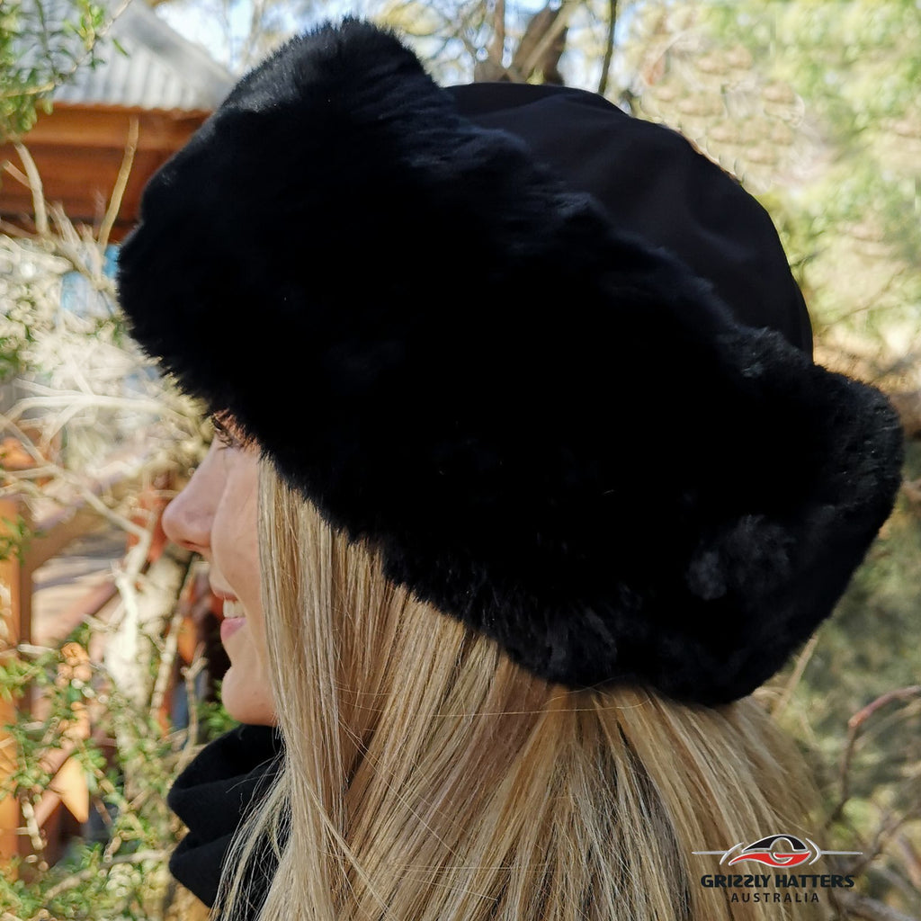 Faux Fur Hat Soft Rabbit Imitation Black Colour