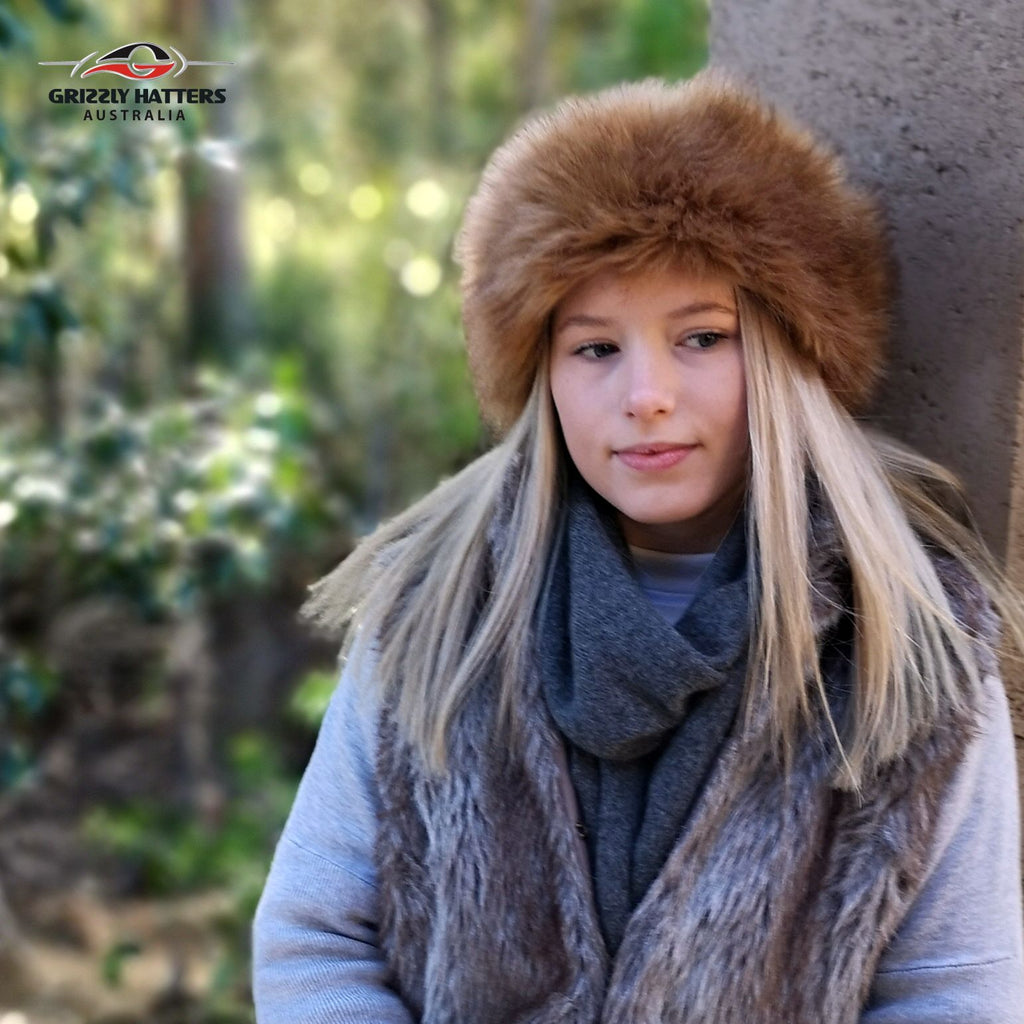 Faux Fur Hat Brown Ginger Fox Colour
