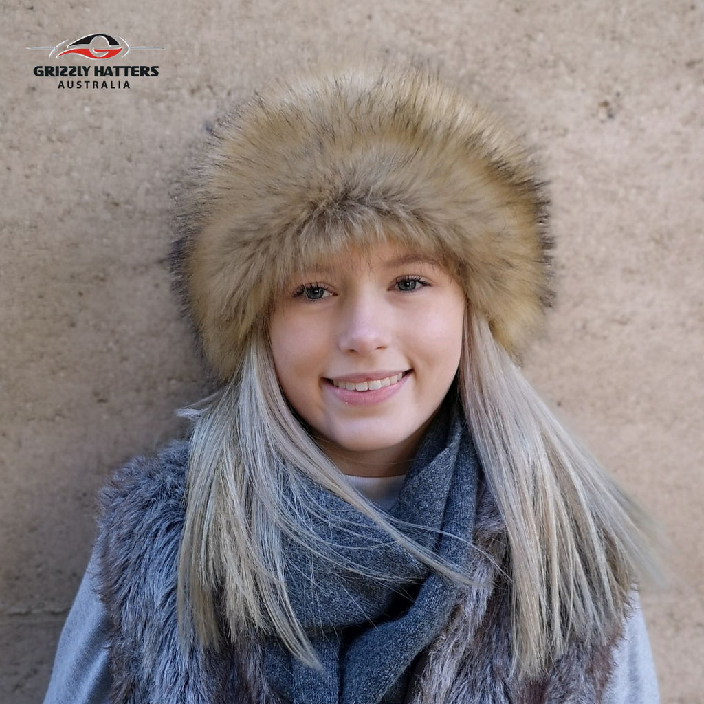 Faux Fur Hat Golden Fox Colour