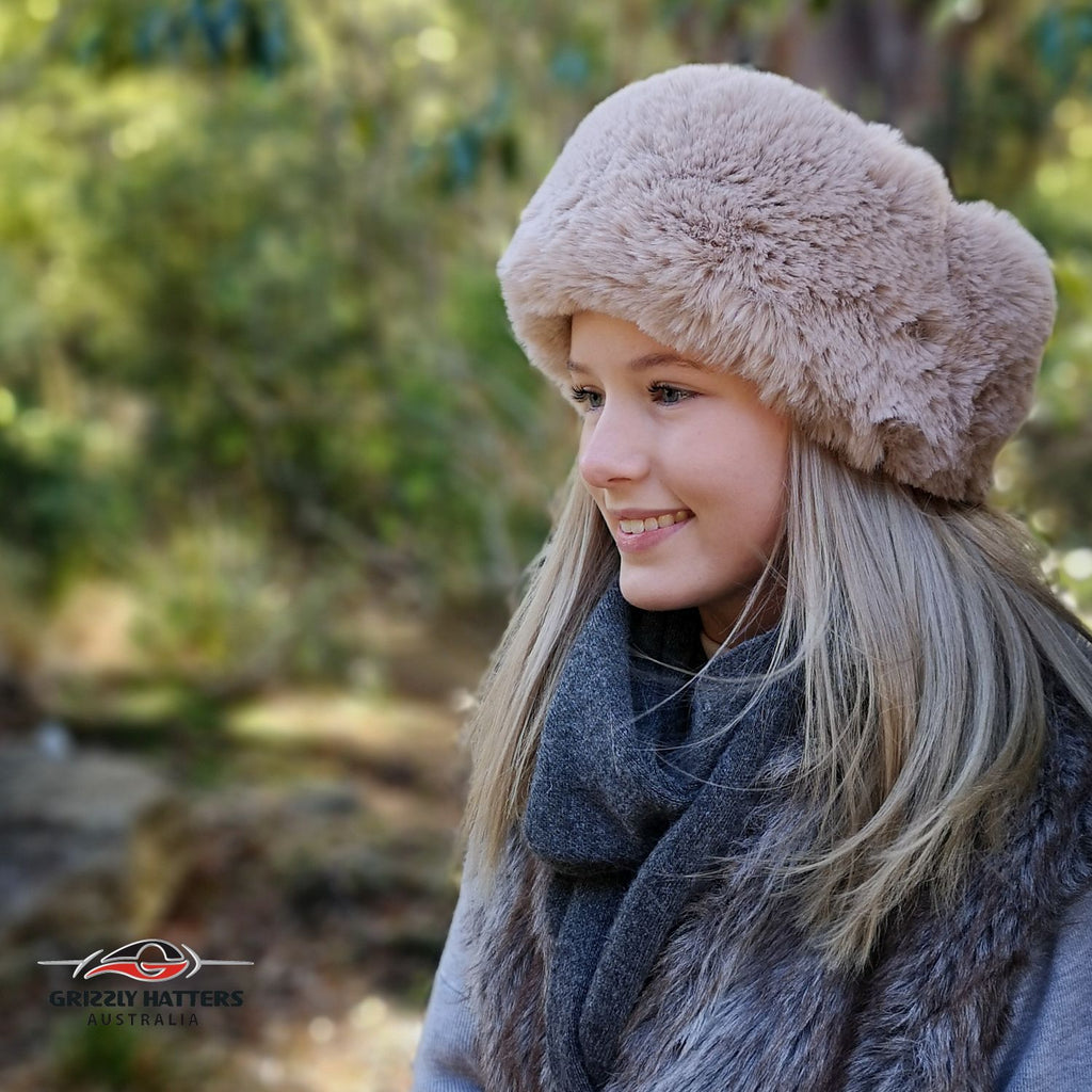 Faux Fur Hat Soft Rabbit Imitation Beige Colour
