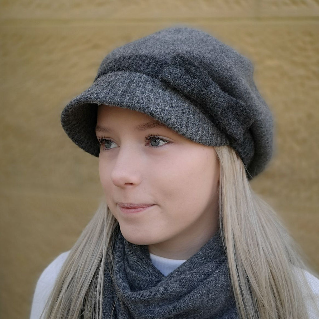 Ladies merino 100% Australian Wool Cap Beret with a peak in grey colour designed in Tasmania by Grizzly Hatters
