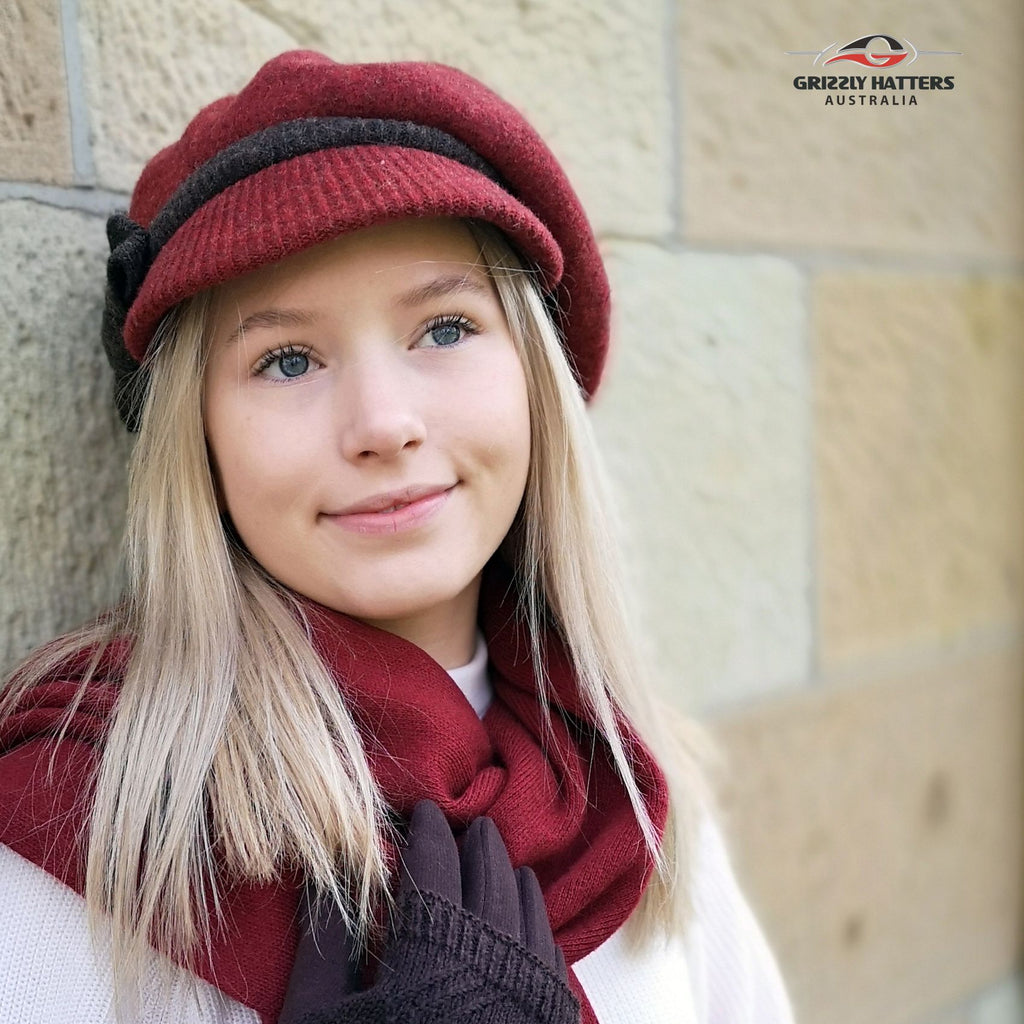 Ladies merino 100% Australian Wool Cap Beret with a peak in maroon and chocolate colour designed in Tasmania by Grizzly Hatters