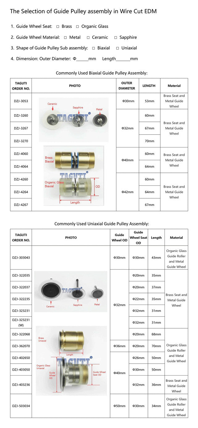 High Speed Guide Wheel Pulley Assembly,Brass Seat Pulley Assembly,EDM Pulley Assembly