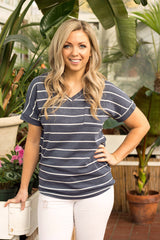 Kiersten Top - Heather Navy