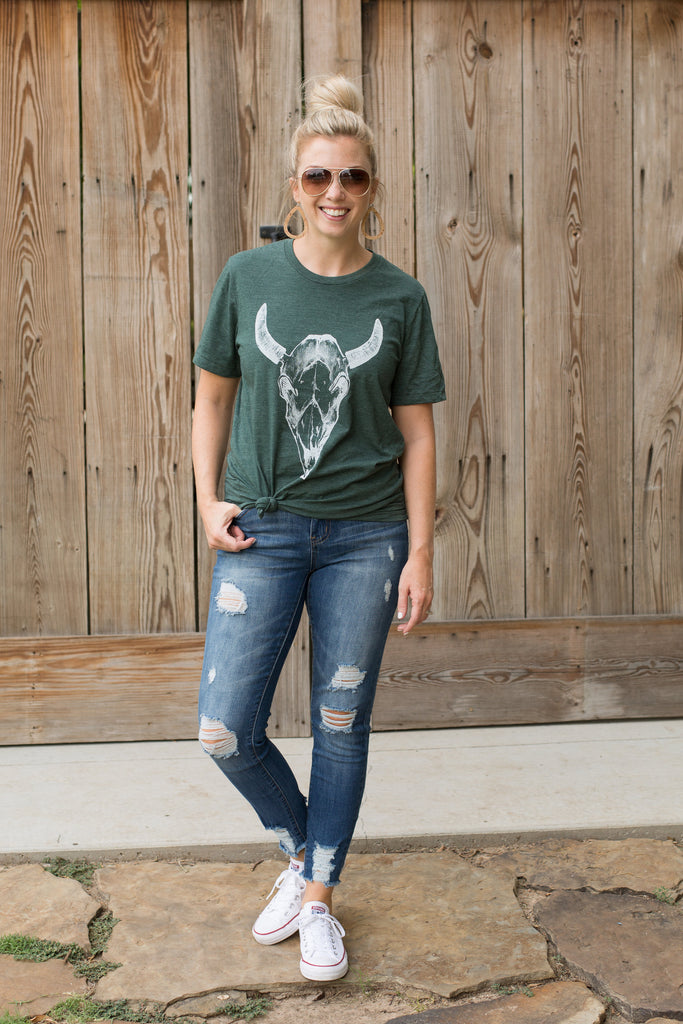 Cow Skull Tee - Heather Forest (Small-XL)