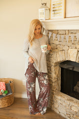 Stay In Lounge Pants - Heather Burgundy