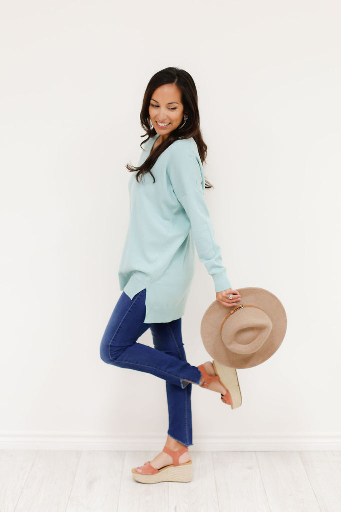Evangeline Sweater - Heather Mint