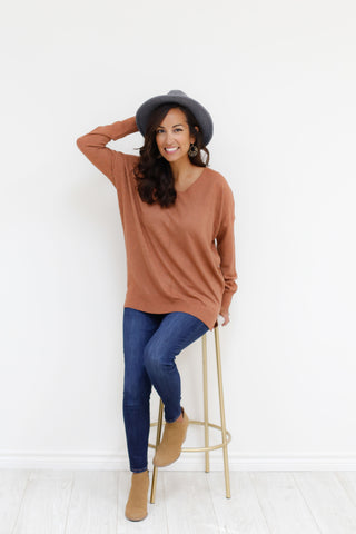 Evangeline Sweater - Heather Ginger